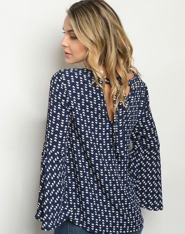 Blue Heart Print Angel Sleeve Top