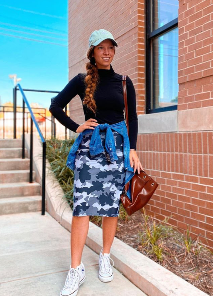 Camo Print Pencil Style Athletic Skirt with Built-in Shorts