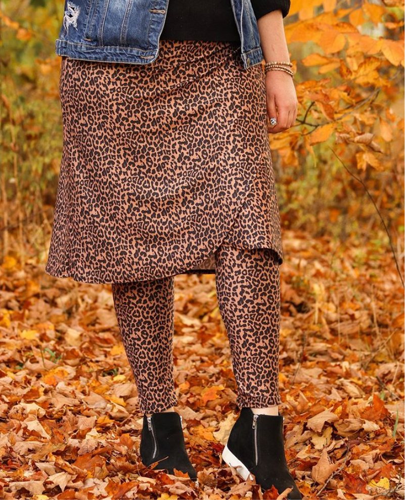 Leopard Wrap Style Athletic Skirt with Ankle length leggings