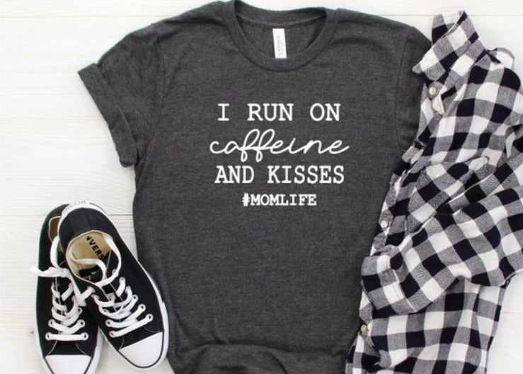 Caffeine & Kisses Mom Tee in Gray