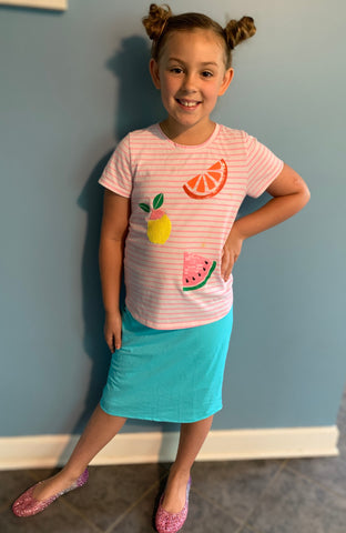 Aqua Blue Girls Athletic & Swim Skirt with Built-in Shorts