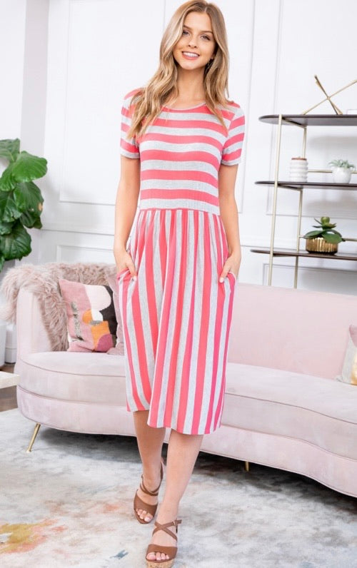 Pink & Gray Striped Dress with Short Sleeves