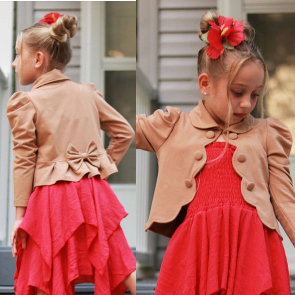 Girl's Tan Bolero Jacket