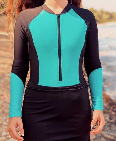 Teal & Black Ladies Swimsuit