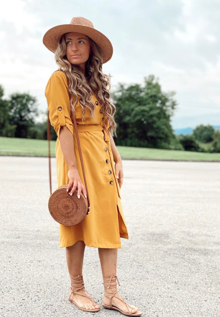 Mustard Dress with Button Detailing