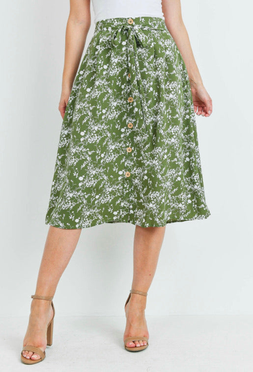 Olive Floral Midi Skirt with Tie