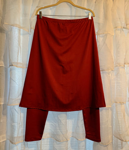 Cranberry A-line Style Athletic Skirt with Built-in Ankle Length Leggings