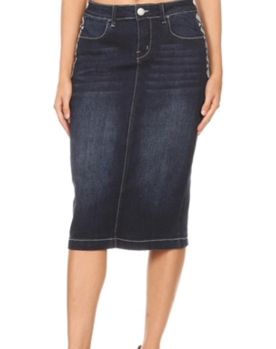 Aztec Embroidered Dark Wash Denim Skirt #77513