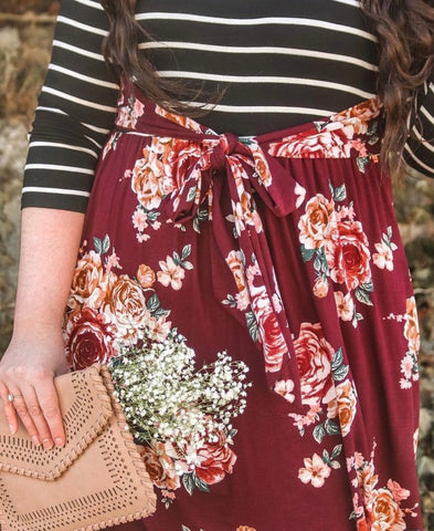 Floral & Striped Dress with Sash