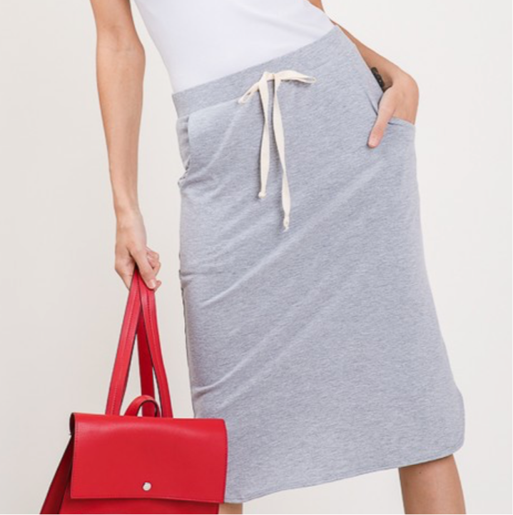 Drawstring Midi Skirt in Gray