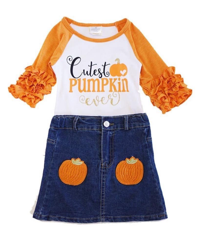 Girls Pumpkin Ruffle Sleeve Top and Jean Skirt Outfit Set