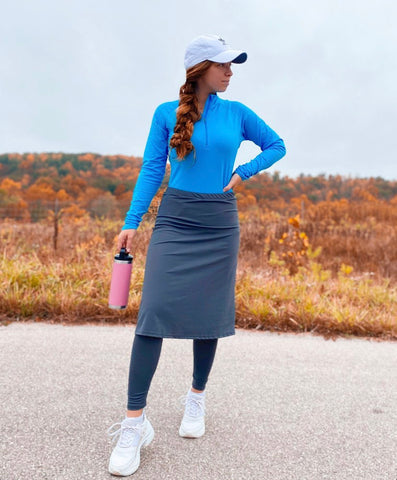 Gray A-line Style Athletic Skirt with Built-in Ankle Length Leggings
