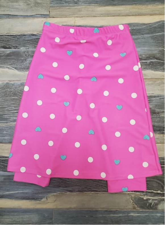 Girls Pink Polka Dot Heart Print Athletic & Swim Skirt with Built-in Leggings