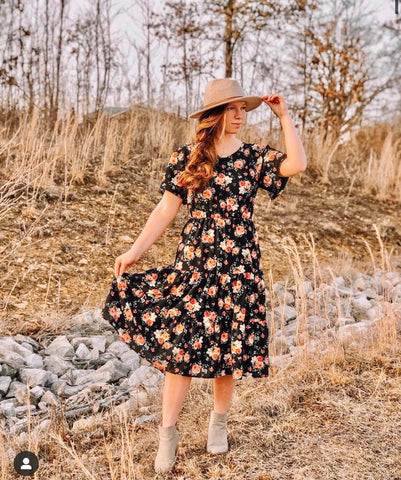 Black Floral Dress with Ruffles