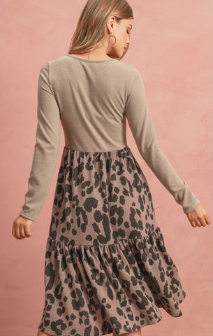 Mocha Leopard Print Sweater Dress with Ruffles