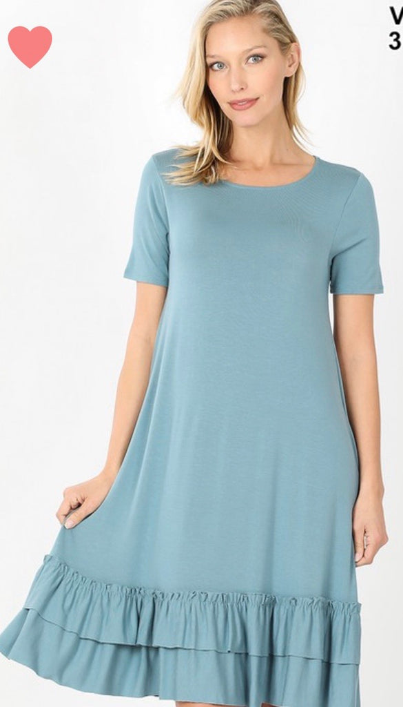 Blue Grey Dress with Ruffles