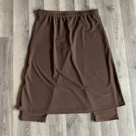 Brown Athletic Skirt with Built-in Capri Length Leggings