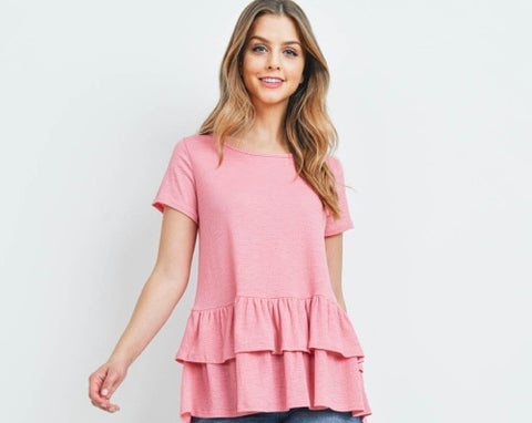 Pink Oversized Top with Ruffle Sleeves