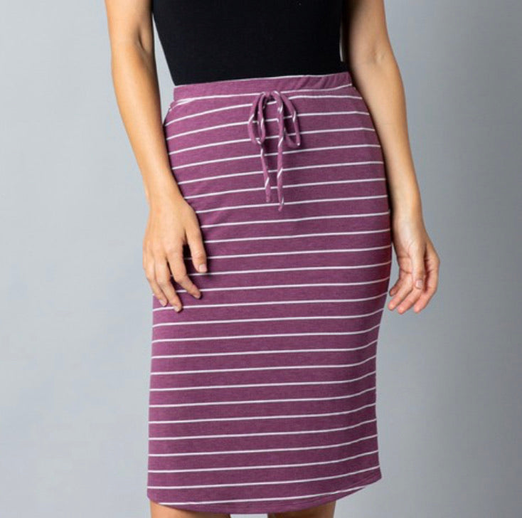 Plum Striped Knit Drawstring Skirt