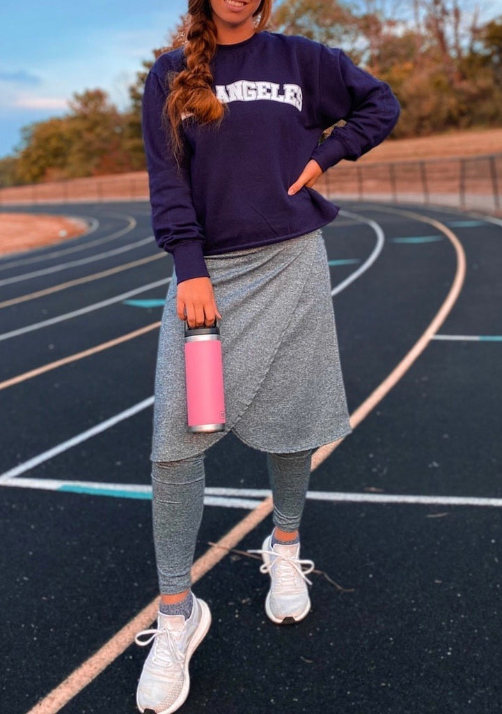 Space Dye Gray Wrap Style Athletic Skirt with Ankle length leggings