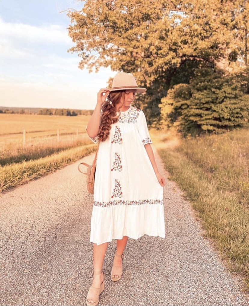 White Boho Inspired Dress with Floral Embroidery
