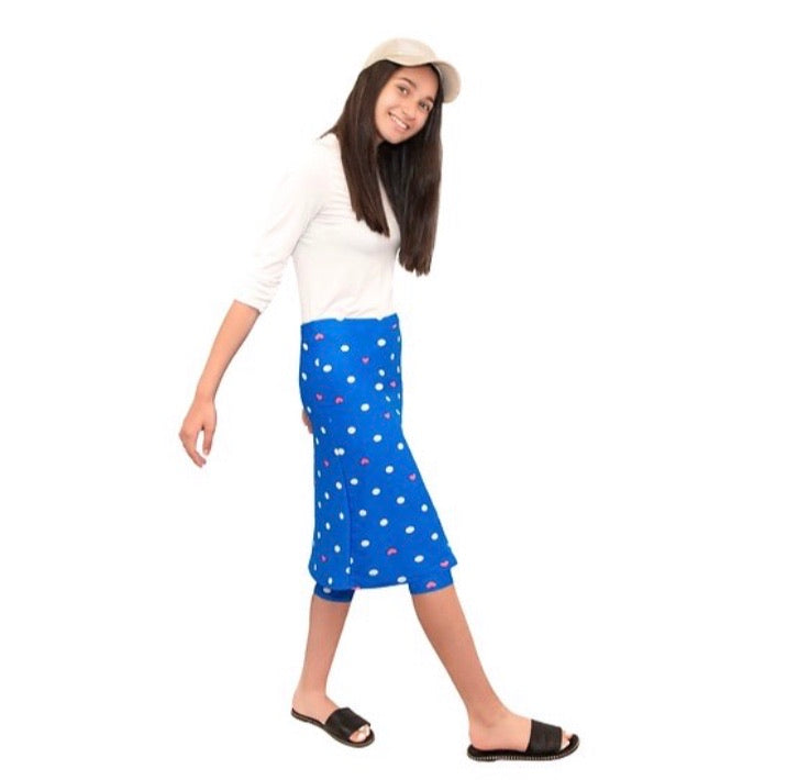 Girls Blue Polka Dot Heart Print Athletic & Swim Skirt with Built-in Leggings