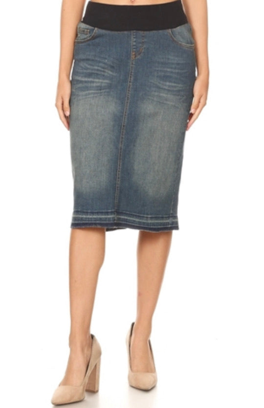 "Vintage Wash Denim Skirt with Wide Elastic Waistband in 27"" Length 77511"