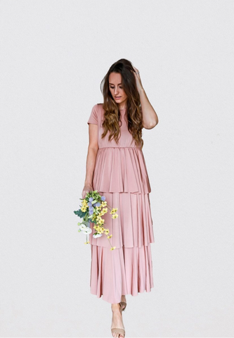 """Duchess"" Ruffled Dress in Blush Pink"