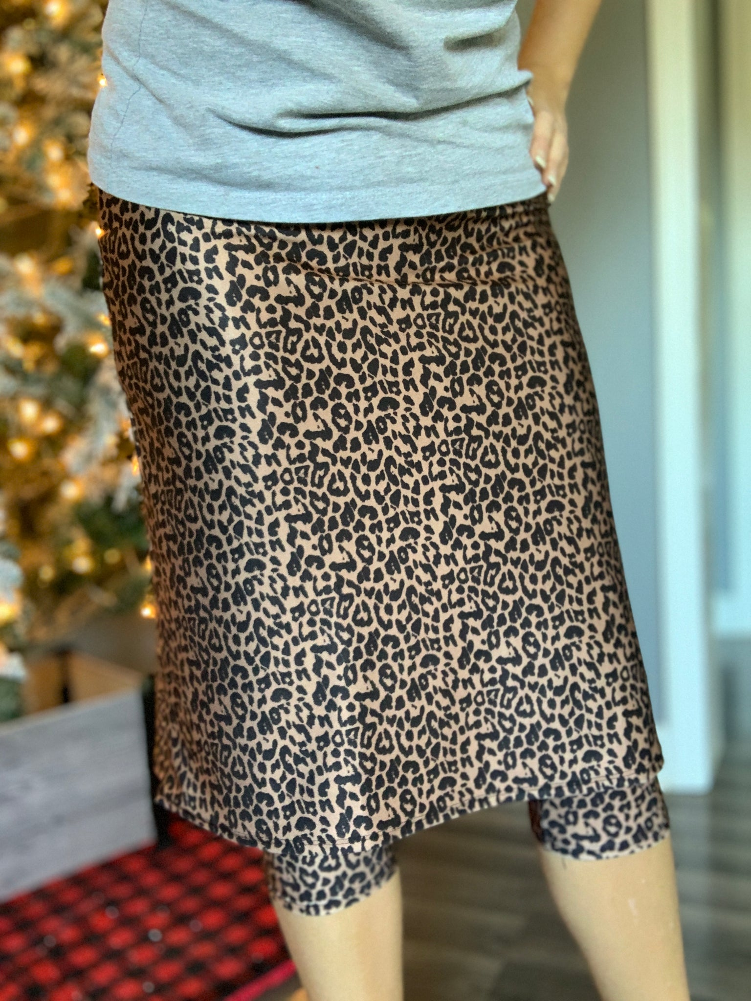 Leopard Print A-Line Athletic Skirt with Capri Leggings