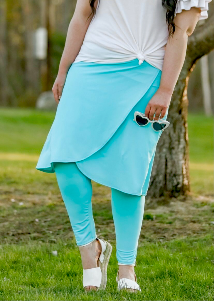 Aqua Blue Wrap Style Athletic & Swim Skirt with Built in Leggings