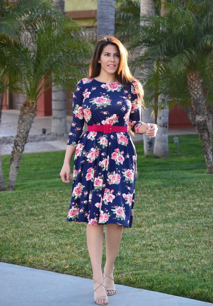 Navy Floral Dress with 3/4 Sleeves