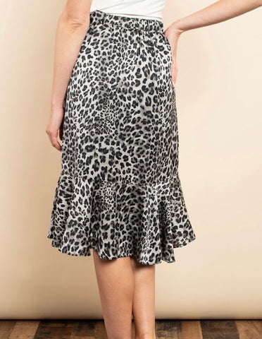 Leopard Skirt with Ruffle