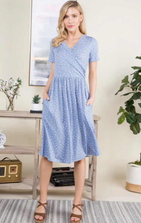 Baby Blue Polka Dot Dress