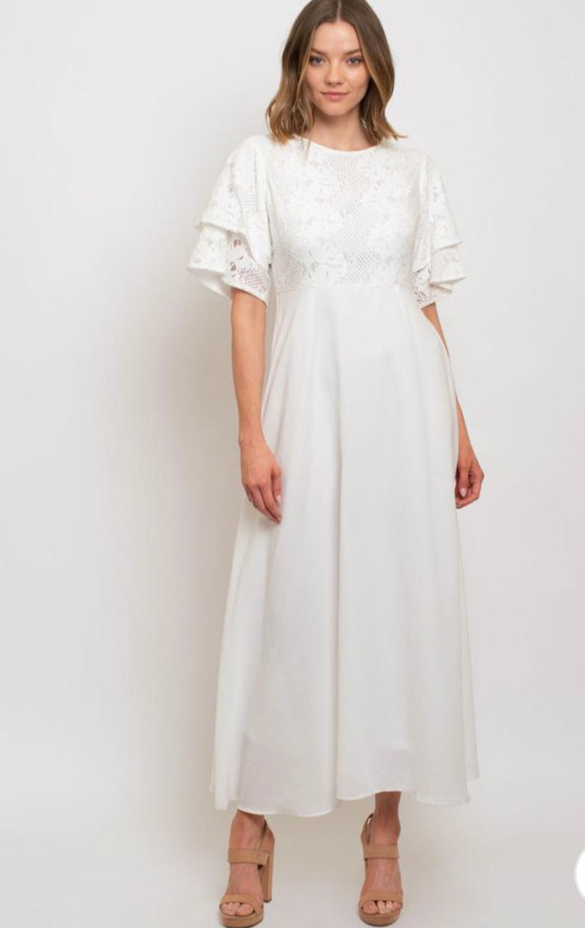 Ruffle Sleeve Dress with Lace Bodice in White