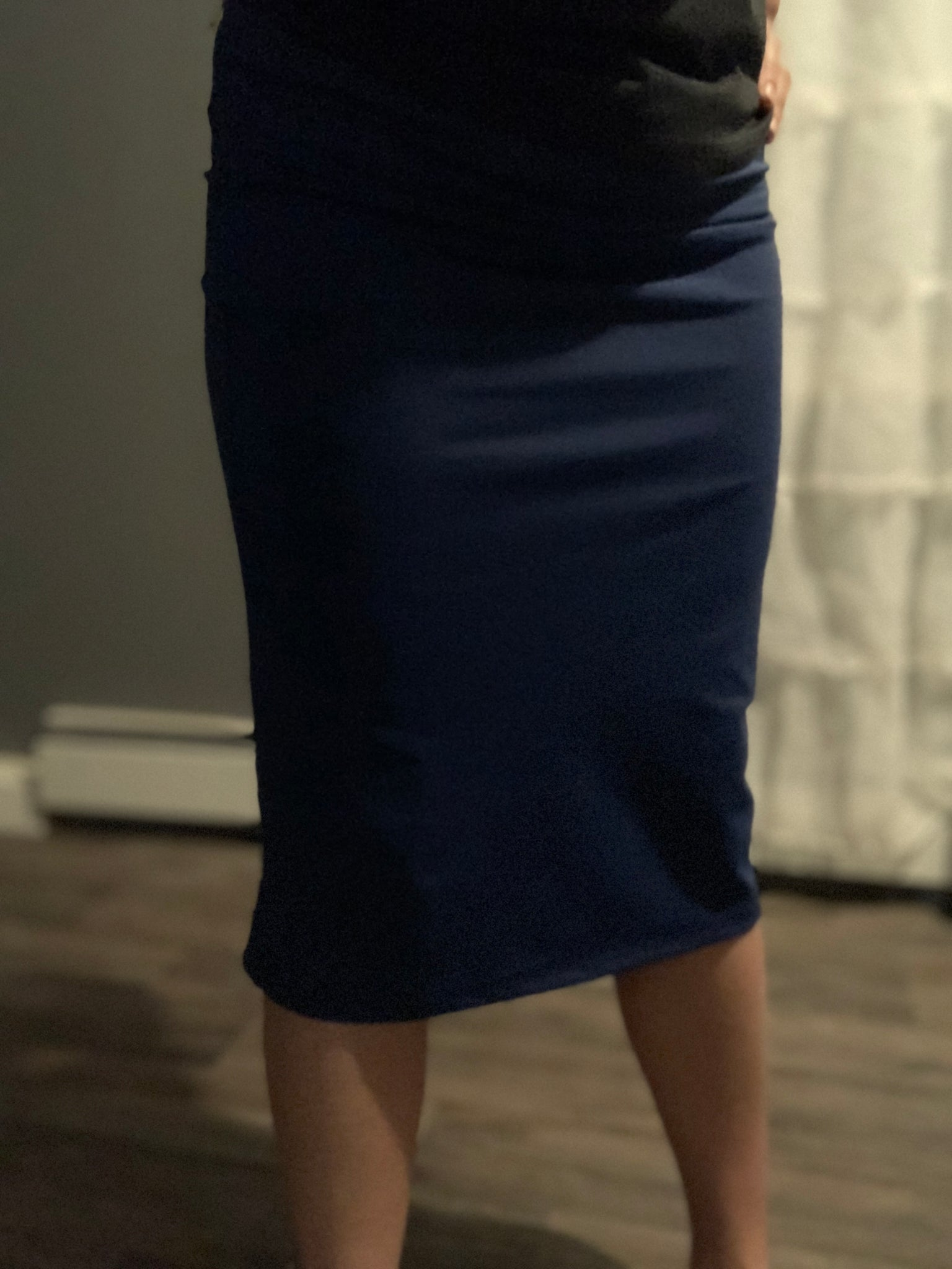 Tall Length Navy Athletic Pencil Style Skirt with Hidden Leggings