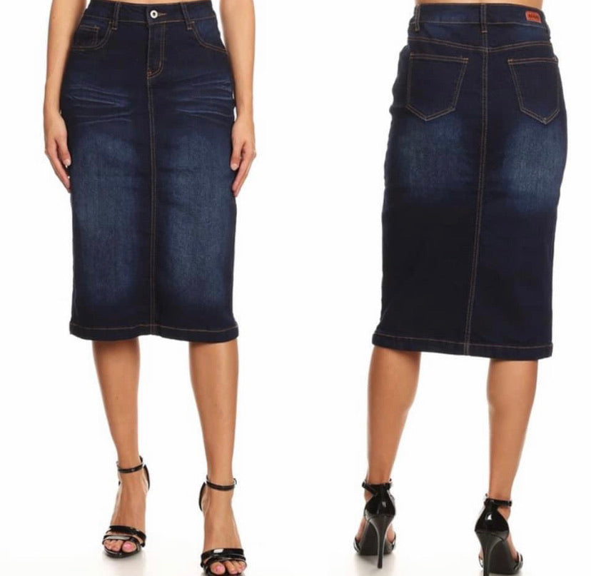"27"" Length Dark Indigo Wash Denim Skirt 77239"