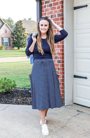 Navy & White Knit Striped Skirt with Drawstring Waist