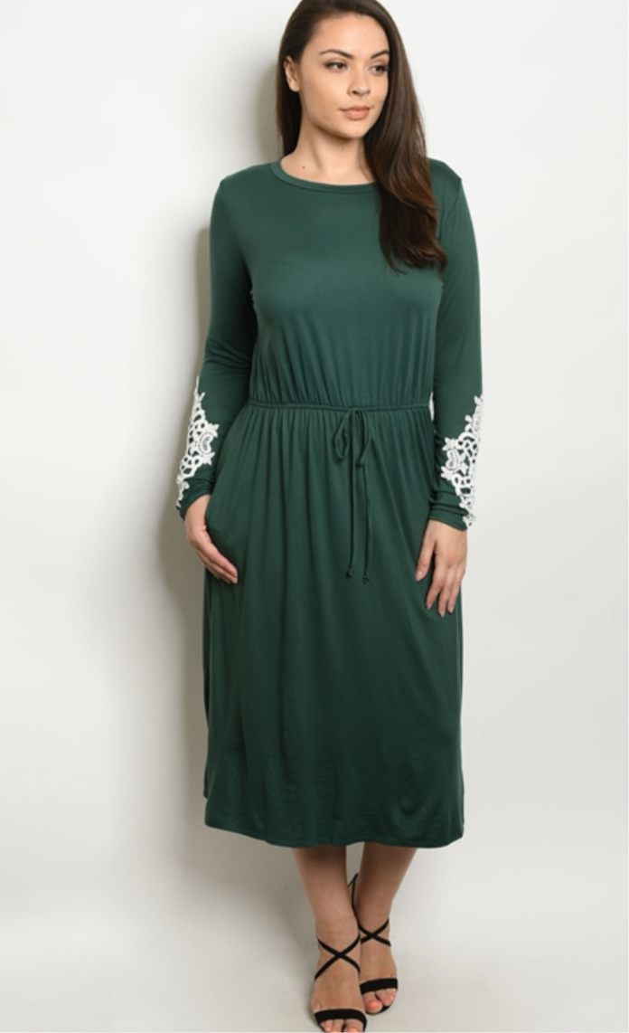 Lace Trimmed Emerald Green Dress in Plus