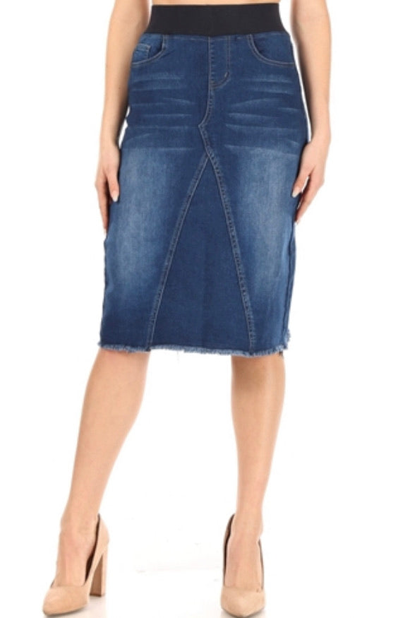 "Indigo Wash Denim Skirt with Wide Elastic Waistband in 27"" Length 77617"