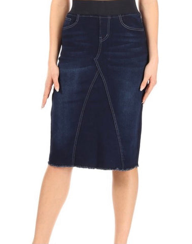 "Dark Wash Denim Skirt with Wide Elastic Waistband in 27"" Length 77617"