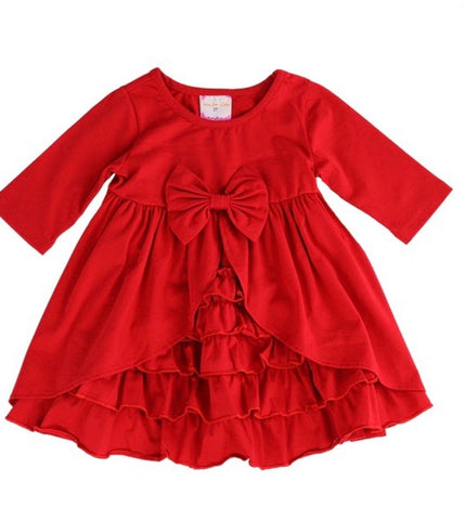 Girls Ruffled Dress in Red