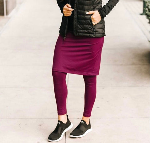 Plum Purple Pencil Style Athletic Skirt with Ankle Length Leggings in Standard Length