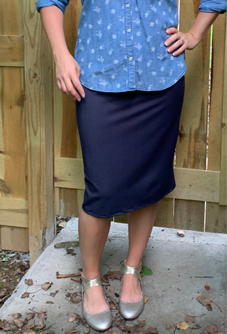 Faux Denim Pencil Skirt
