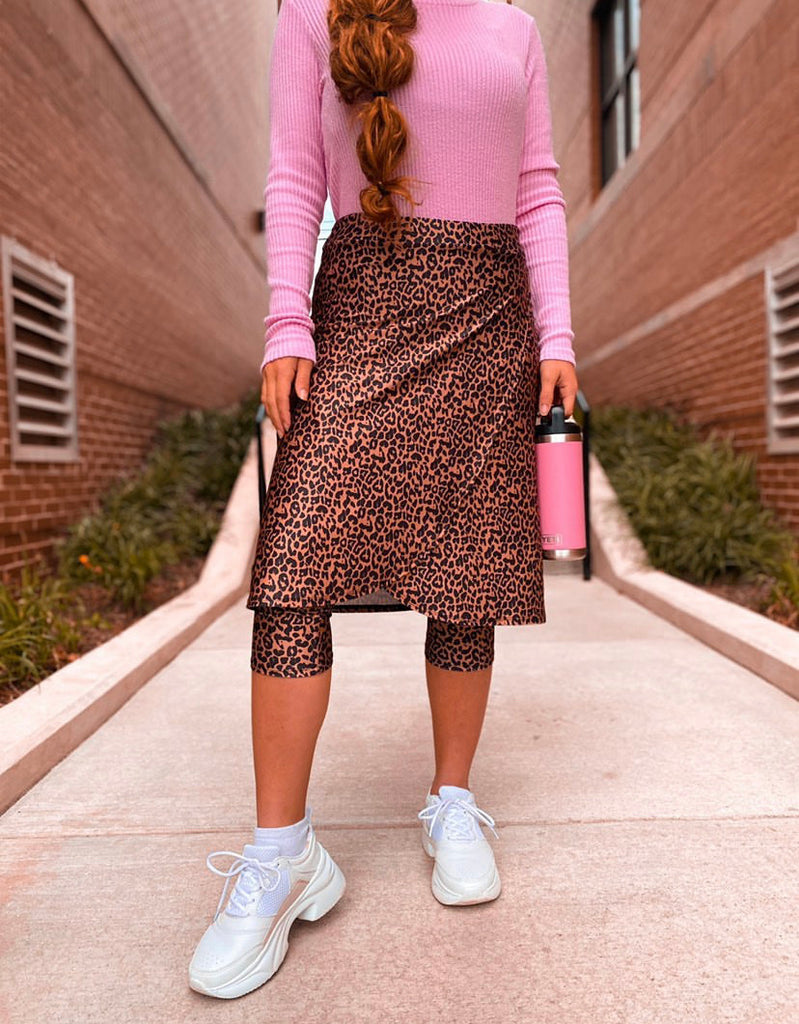 Leopard Print Wrap Style Athletic/Swim Skirt