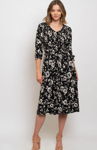 Black Floral Dress with 3/4 Sleeves