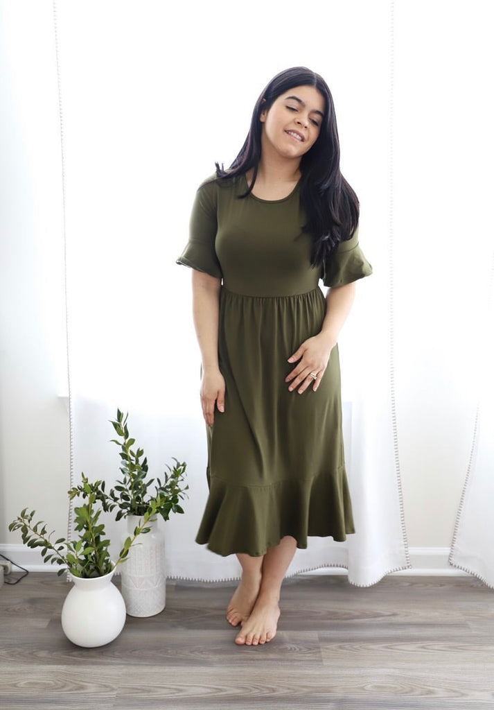 Dark Olive Green Ruffle Dress