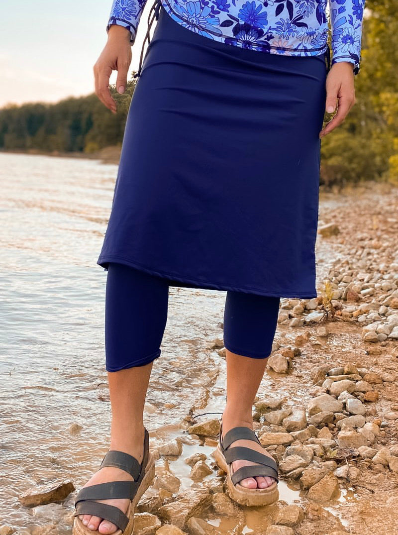 Navy Athletic & Swim Skirt with Capri Leggings