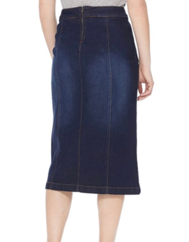Dark Wash Below Knee Length Button Denim Skirt Style #77381