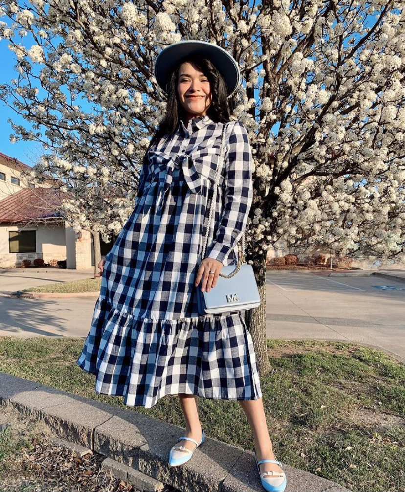 Navy & White Plaid Ruffled Dress with Sash