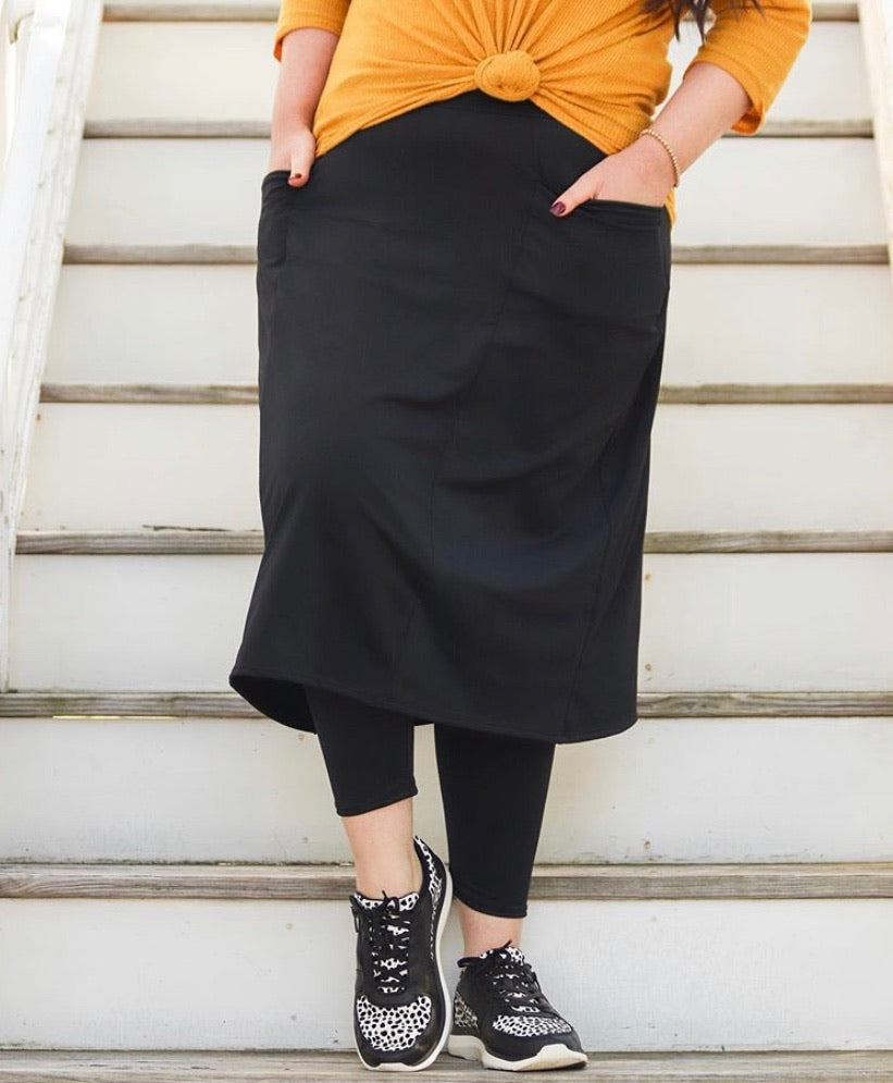 Black Pocket Style Athletic & Scrub Skirts with Built-in Leggings